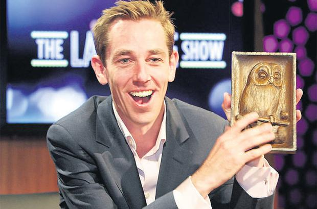 Ryan Tubridy settling in to his role as host with a carving of the show's famous owl