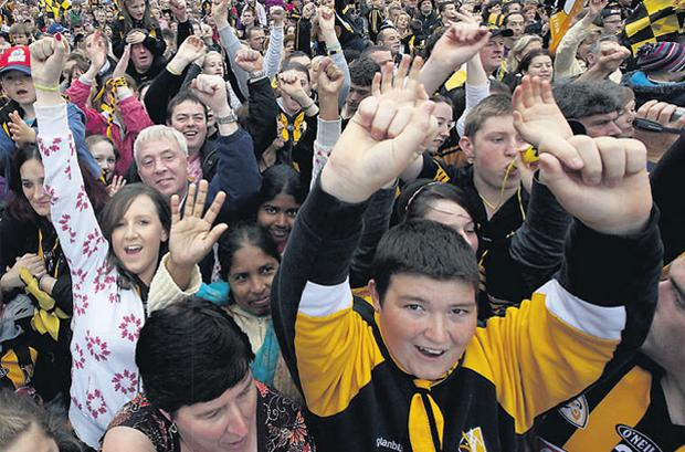 Thousands of ecstatic fans turned out yesterday evening to celebrate the homecoming of the Kilkenny All-Ireland champions - making it four-in-a-row for the hurling legends