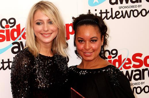 Rhea Bailey (right) and Ali Bastien from 'The Bill' with the Best Drama award at the 2009 Inside Soap Awards in London. Photo: Getty Images