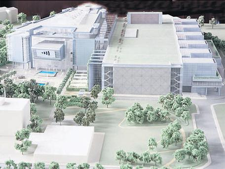 A model of the proposed redevelopment of RTE buildings at Montrose in Dublin.