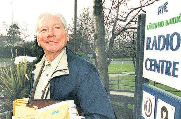 Gay Byrne pictured outside the RTE Radio Studio in Donnybrook, Dublin