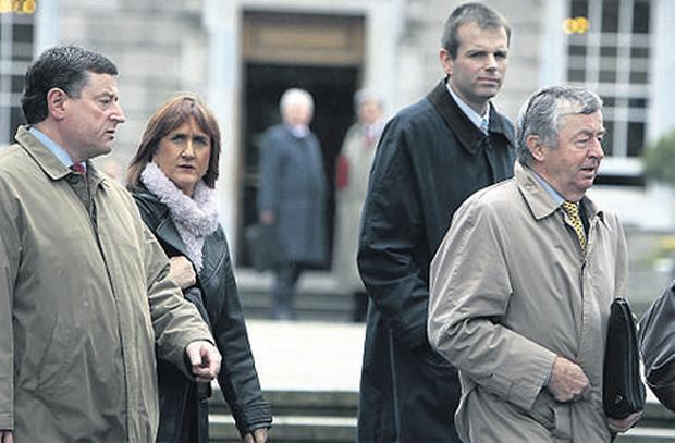 George Tracey, head of legal and consumer department, Mary O'Dea, acting chief executive, Donncha Connolly, deputy head of domestic credit institutions, and Jim Farrell, chairman, form a delegation from the Financial Regulator to a Joint Oireachtas Committee on Economic Regulatory Affairs meeting at Leinster House earlier this year.