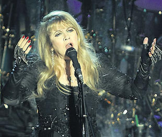 Stevie Nicks on stage with Fleetwood Mac at the O2.