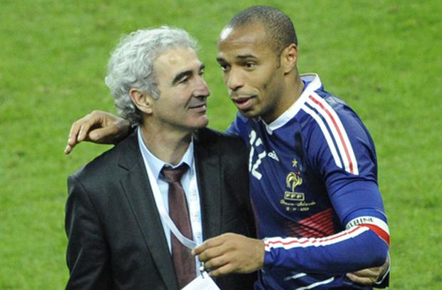 French coach Raymond Domenech celebrates with French forward Thierry Henry at the end of the controversial World Cup 2010 qualifier. Photo: Getty Images