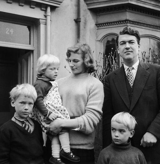 ELUSIVE: Kingsley Amis, right, with his wife Hilly and their children, Martin, left, Sally and Phillip.