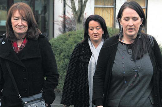 Sisters Kerrie Aldridge, Patricia Connolly and Ann Guilfoyle outside Carrick-on-Shannon Garda Station yesterday where they met with senior gardai to discuss their sister Bernadette Connolly who was sexually assaulted and murdered in 1970 in Collooney, Co Sligo