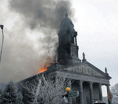 Smoke billowing from St Mel's Cathedral in Longford after a blaze broke out there yesterday