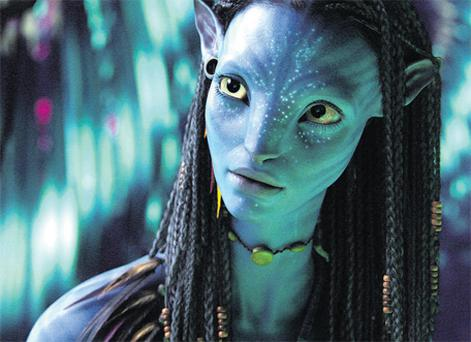 Christmas blockbuster 'Avatar', in which a planet populated by blue-skinned aliens is invaded by a mining company in search of a strange metal.