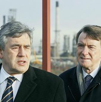 Prime Minister Gordon Brown and Business Secretary Lord Mandelson visit the London Gateway port construction site