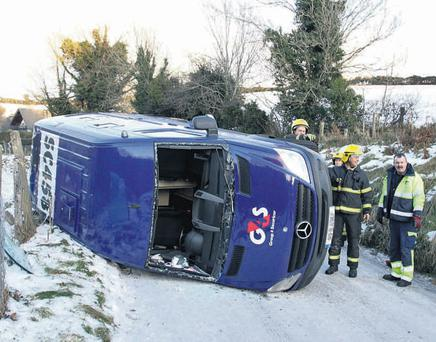 A Group4 Securicor van overturned in the treacherous weather conditions near the village of Avoca, Co Wicklow