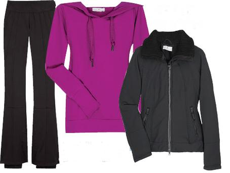 From left: Ski pants, €200, fuchsia organic cotton, hooded top, €90 and ski jacket, €320, all from Net-a-porter.com