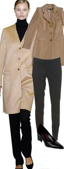 Camel coat, €162.18 and black court shoes, €56, both at Oasis; Black skinny trousers, €52 at Warehouse