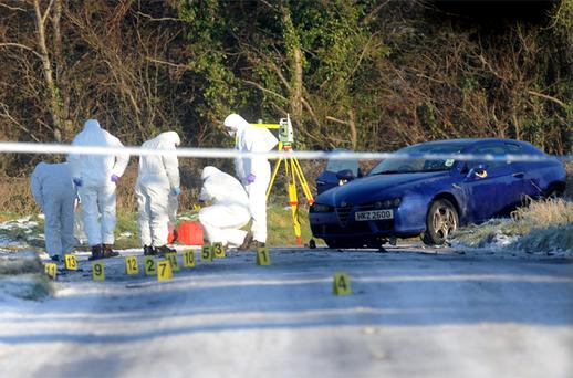 Police in the North have launched a major hunt for the gang behind yesterday's horiffic car bombing which left PSNI Constable Peadar Heffron (33) fighting for his life in hospital