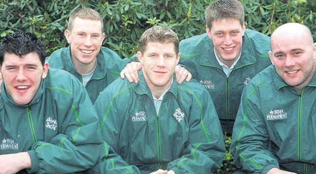 FAMOUS FIVE: Shane Horgan, Peter Stringer, Simon Easterby, Ronan O'Gara and John Hayes pictured ahead of making their international debuts against Scotland on February 18, 2000. MATT BROWNE/SPORTSFILE