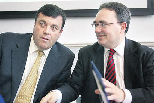 Finance Minister Brian Lenihan with NAMA chief Brendan McDonagh in the Department of Finance when publishing the draft legislation on the assets agency