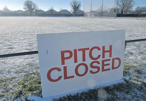 The sign beside the pitch in Kilcock, Co Kildare, reflects the problems being experienced by managers all around the country. DAVID MAHER / SPORTSFILE