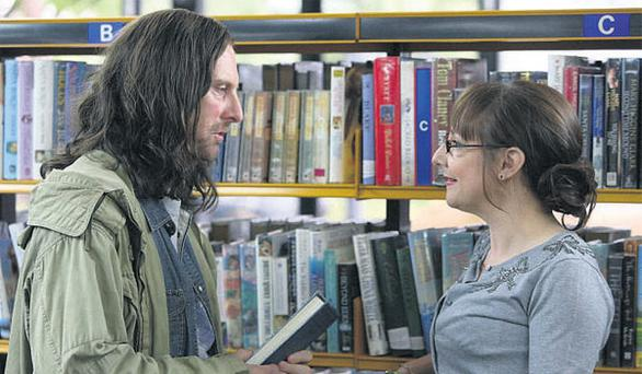 Frank Gallagher (David Threlfall) speaking to his new love interest, librarian Libby Croaker (Pauline McLynn) in a scene from the first episode of the new series of 'Shameless'