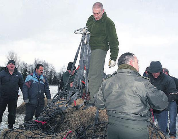 HELP IN THE BIG FREEZE: The Irish Air Corps send a helicopter from Casement Aerodrome in Baldonnell, Co Dublin, to airlift hay fodder((left) to John Connell, who lives with his herd of cattle on a tiny Island on Lough Ree, Co Westmeath.