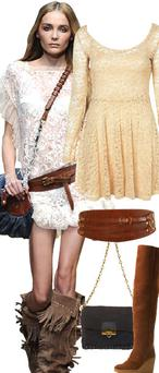 Cream lace dress, €58, tan leather belt, €53, navy suede bag, €91, and tan suede, fleece-lined wedges, €143, all at Topshop