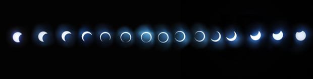 The rare annular solar eclipse was visible across much of Africa and Asia. During the 7 minutes 15 seconds annularity, the moon passes directly in front of the sun, leaving a spectacular ring of fire. The whole eclipse took 4 hours, 11:05 a.m. until 03.05 p.m. Photo: Getty Images