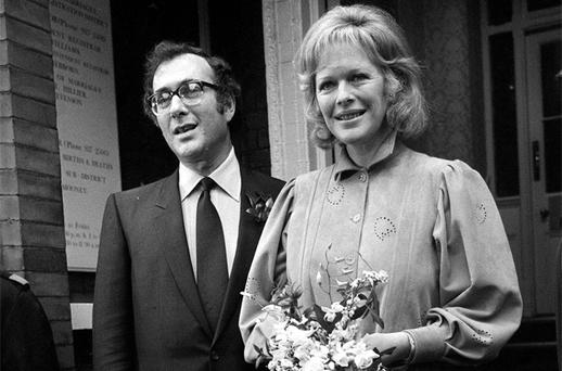 Playwright Harold Pinter and writer Lady Antonia Fraser pictured leaving Kensington Registry Office in London after their wedding in October 1980