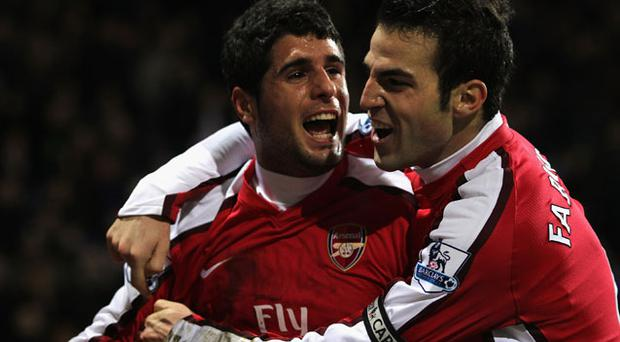 Cesc Fabregas and Fran Merida celebrate, Aresenal beat Bolton 2-0 Photo: Getty Images