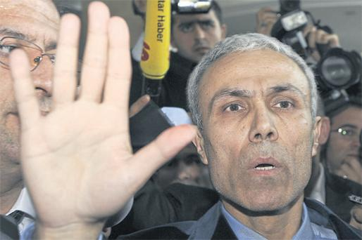 Pope John Paul II's attacker, Mehmet Ali Agca, after his release from prison in Turkey yesterday