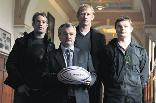 Leinster players and former students Luke Fitzgerald, Leo Cullen and Brian O'Driscoll, return to Blackrock College as part of the 150th anniversary celebrations of the school