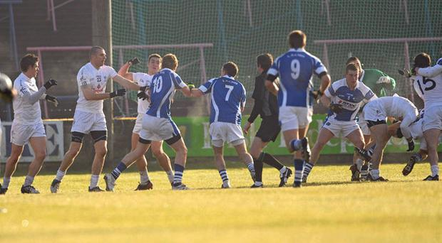An altercation breaks out between the teams during the game between Laois and Kildare in the O'Byrne Cup yesterday PAUL MOHAN / SPORTSFILE
