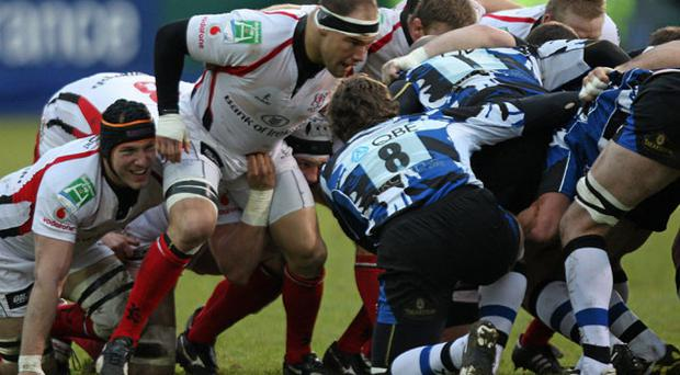Ulster's BJ Botha in action in a scrum against Bath during their Heineken Cup clash on Saturday JOHN DICKSON / SPORTSFILE