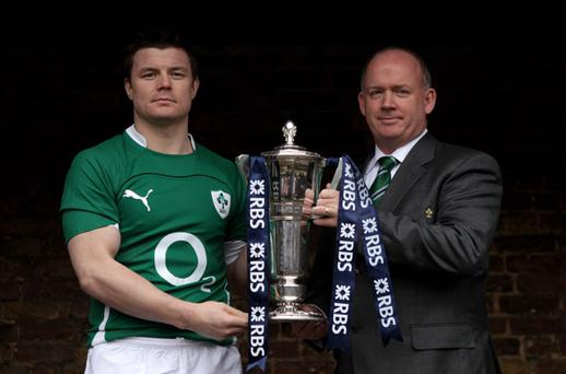 Ireland captain Brian O'Driscoll and head coach Declan Kidney at the RBS Six Nations Rugby Championship launch in London yesterday Photo: Getty Images