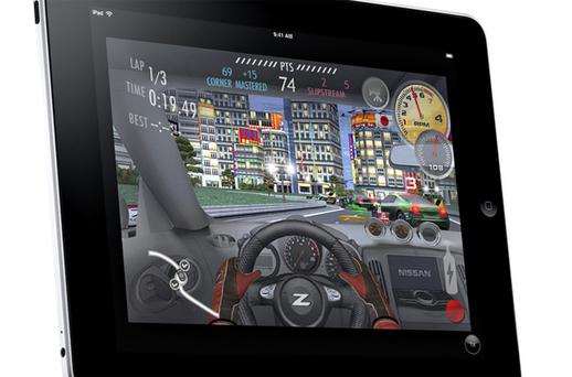 A handout photograph shows a driving game running on an iPad. Photo: Bloomberg News