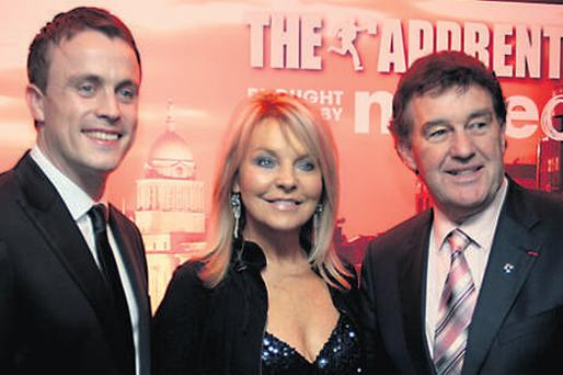 'Apprentice' winner Steve Rayner with judges Bill Cullen and Jackie Lavin at the Sugar Club. The show on TV3 is a big draw to the growing website tv3.ie