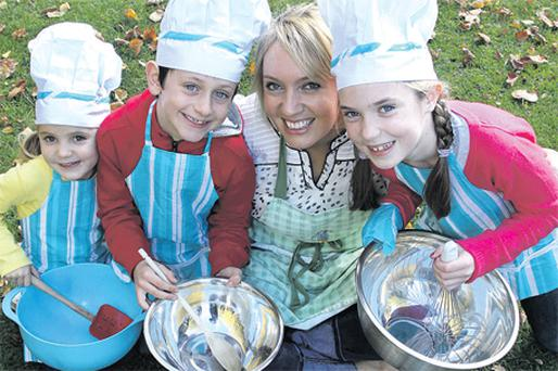 Social entrepeneur Victoria McKechnie of 'Kids in the Kitchen' is joined by three young chefs, Luan Ferriter, aged 7, Ana Coughlan, aged 8 and Thea Coughlan, aged 4