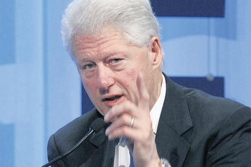 Former US president and UN special envoy to Haiti Bill Clinton addressing delegates at the World Economic Forum (WEF) in Davos yesterday
