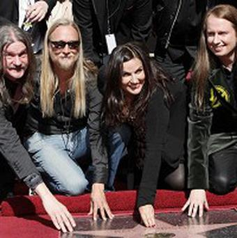 Westly Orbison, Alex Orbison, Barbara Orbison and Roy Orbison gather as the late Roy Orbison awarded a star on the Hollywood Walk of Fame (AP)