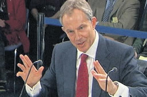 Former British Prime Minister Tony Blair gives evidence to the Chilcot Inquiry in London yesterday