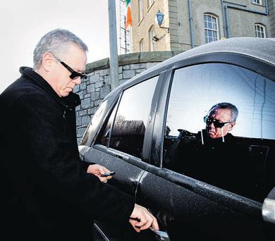 SIGNING ON: Eamonn Lillis outside Howth garda station yesterday. Photo: David Conachy