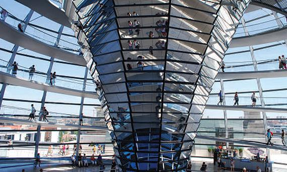 The central dome of Berlin's Reichstag building, designed by Norman Foster