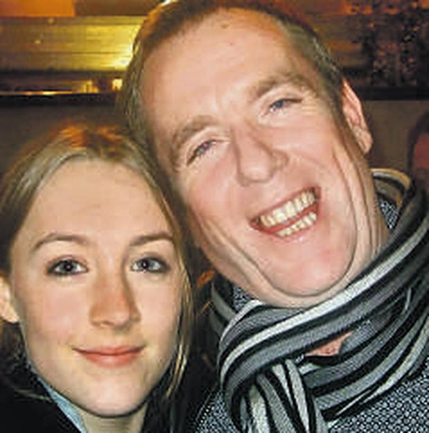 Actress Saoirse Ronan with her personal hairdresser, Conor McAllister