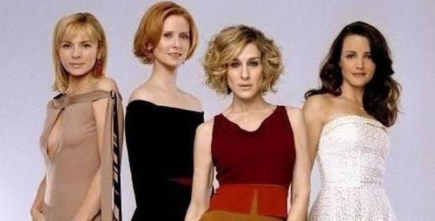 Sarah Jessica Parker, Kristin Davis, Cynthia Nixon and Kim Cattral in the HBO hit series Sex and the City