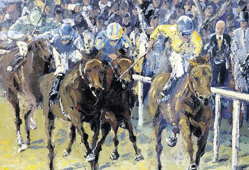 The painting by artist Ivan Sutton depicting Mick Kinnane on Sea the Stars winning the Epsom Derby. The work, entitled 'Fame and Glory', will be auctioned at Whyte's on March 15, and has an estimated price of €4,000 to €5,000.