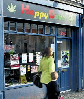 Happy Daze, on Main Street, Naas, Co Kildare, sells 'legal highs' that mimic illegal drug use and operates from a building owned by Judge John Coughlan