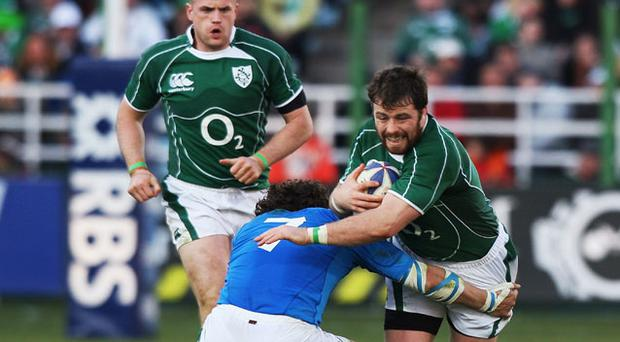 Marcus Horan (R) is to continue his comeback campaign tomorrow night against Scotland 'A' Photo: Getty Images
