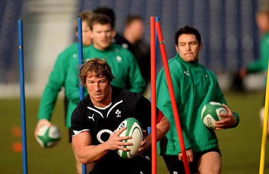 Jerry Flannery and the Ireland squad hard at it during training at the RDS in Dublin. Photo: Julien Behal/PA Wire