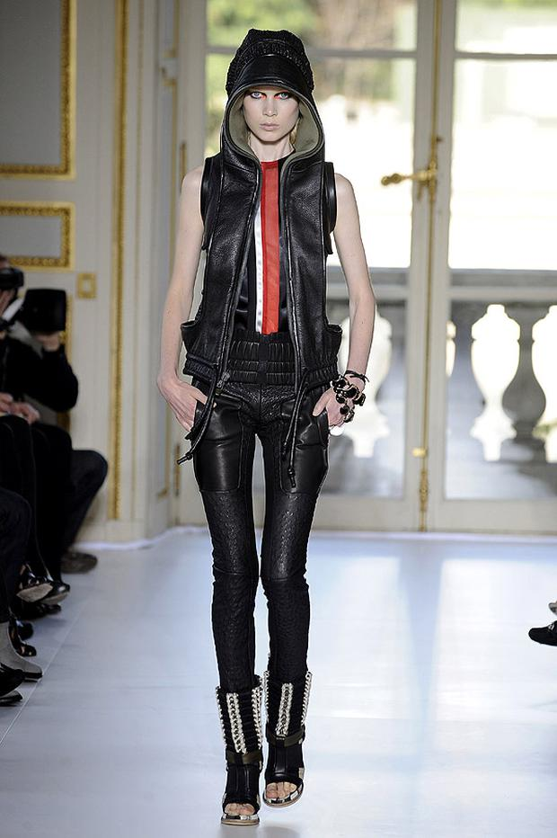 Leather featured strongly at the Balenciaga Spring/Summer 2010 collection in Paris. Photo: Getty Images