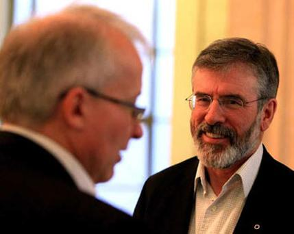 Gerry Adams of Sinn Fein talks to the media at Hillsborough Castle today. Photo: PA