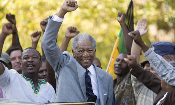 VICTORY: Morgan Freeman catches Nelson Mandela's compelling mix of humility and steely determination perfectly