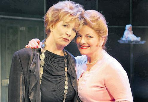Award-winning writer Edna O'Brien (left) and actress Brenda Blethyn on stage at Dublin's Gaiety Theatre yesterday before rehearsals of O'Brien's play 'Haunted', which opened last night.