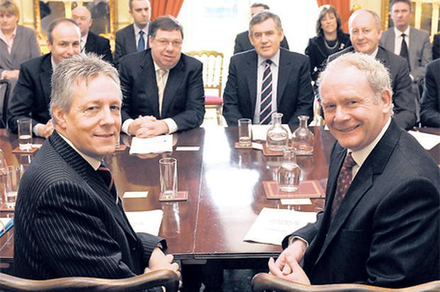 First Minister of the Northern Assembly Peter Robinson (left) and Deputy First Minister Martin McGuinness with Taoiseach Brian Cowen and Prime Minister Gordon Brown at Hillsborough yesterday as a deal was announced after a gruelling two weeks of talks